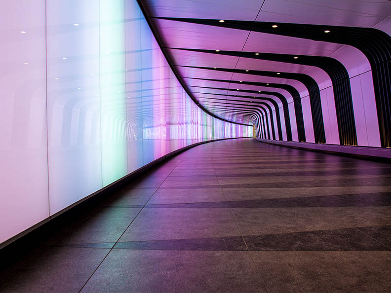 Underground tunnel with colorful lights