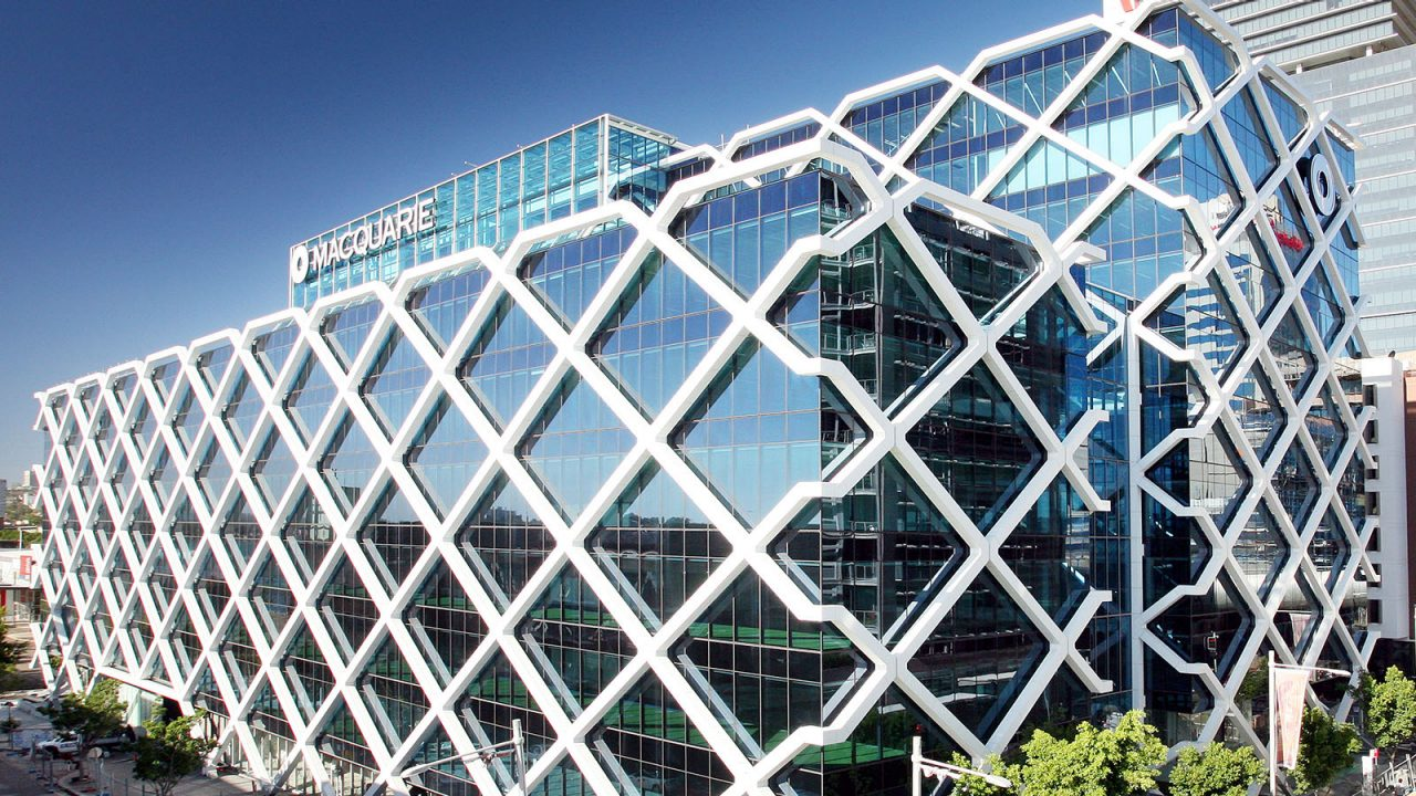 A wide shot of Macquarie's 1 Shelley Street office in Sydney during the day.