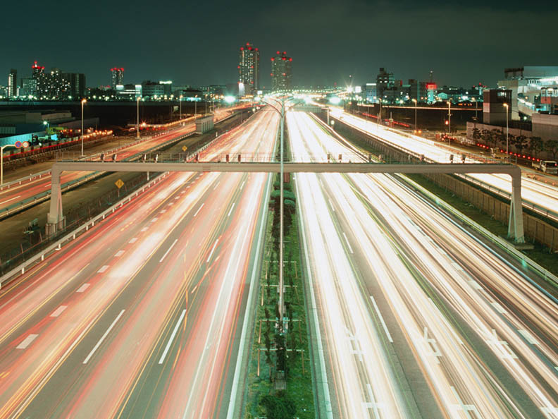 Slow shutter photograph of busy highway